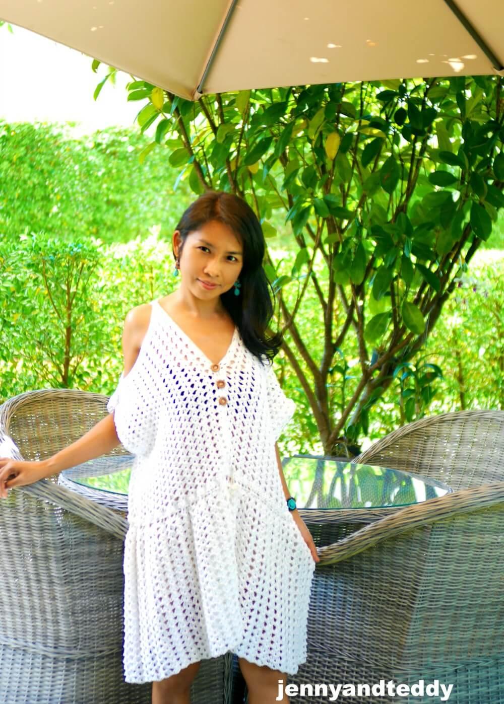 White Hippie Boho Mini Dress Free Crochet Pattern