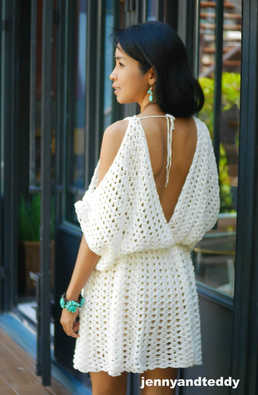White Hippie Boho Mini Dress Free Crochet Pattern