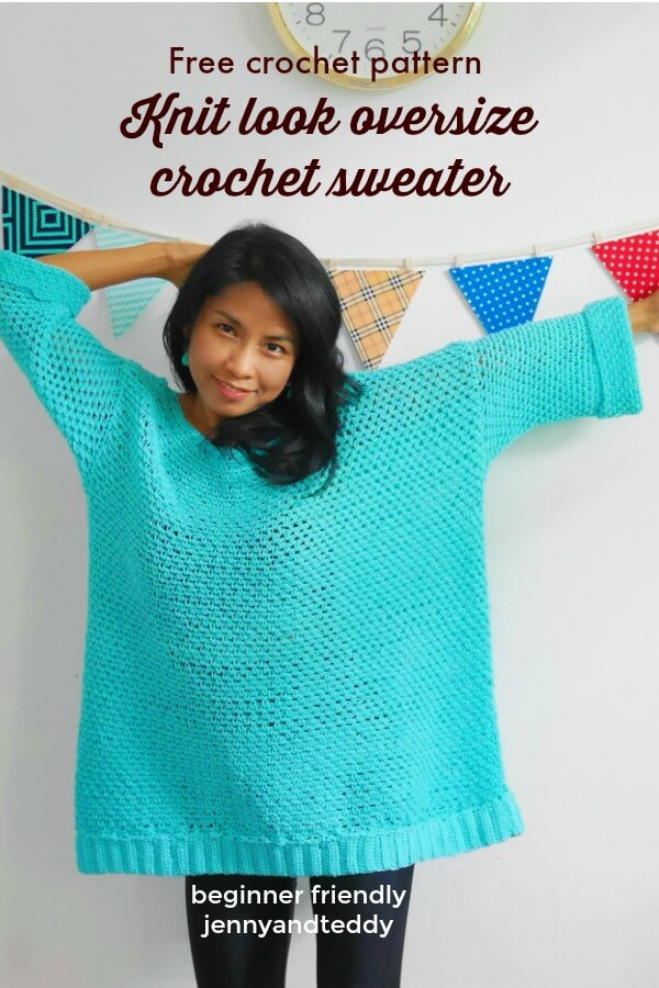 oversize crochet sweater easy for beginner use moss stitch