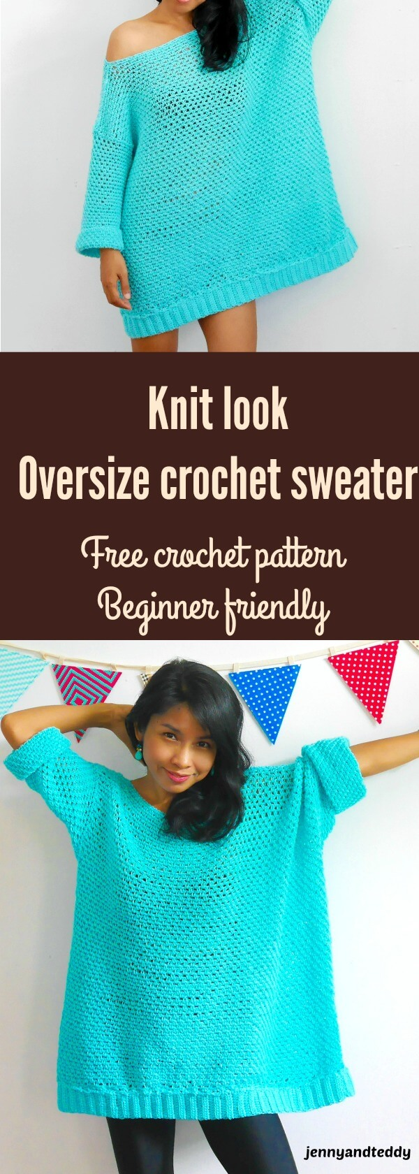 knit look oversize crochet sweater beginner friendly use moss stitch or linen stitch