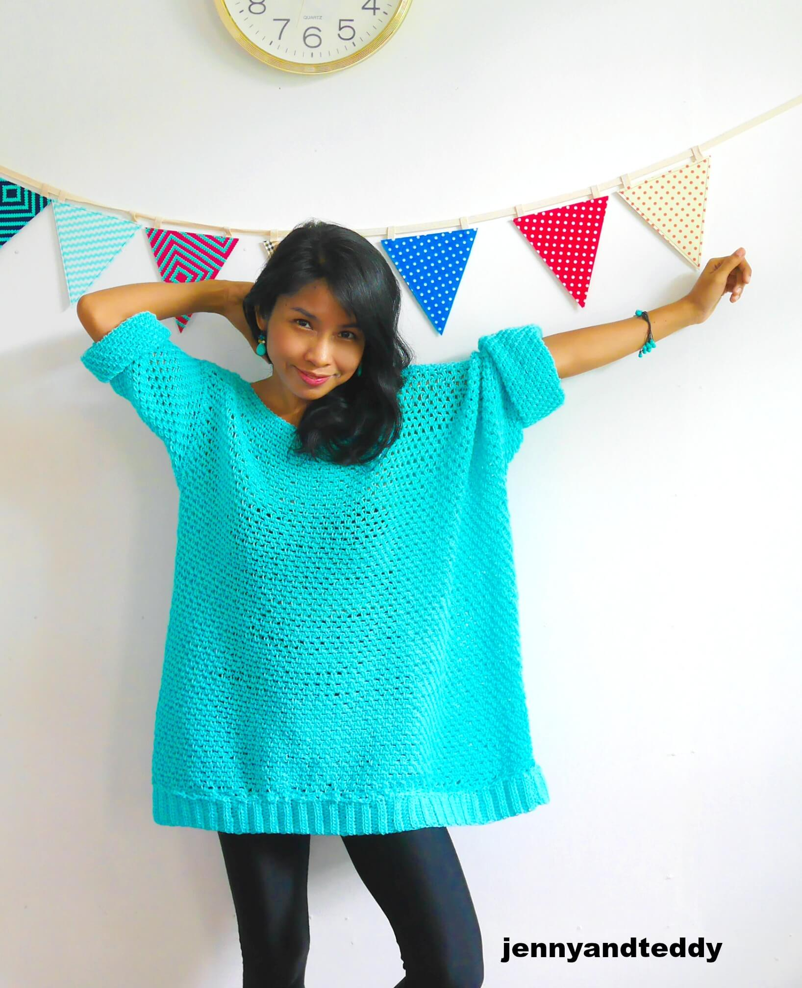 knit look oversize crochet sweater moss stitch