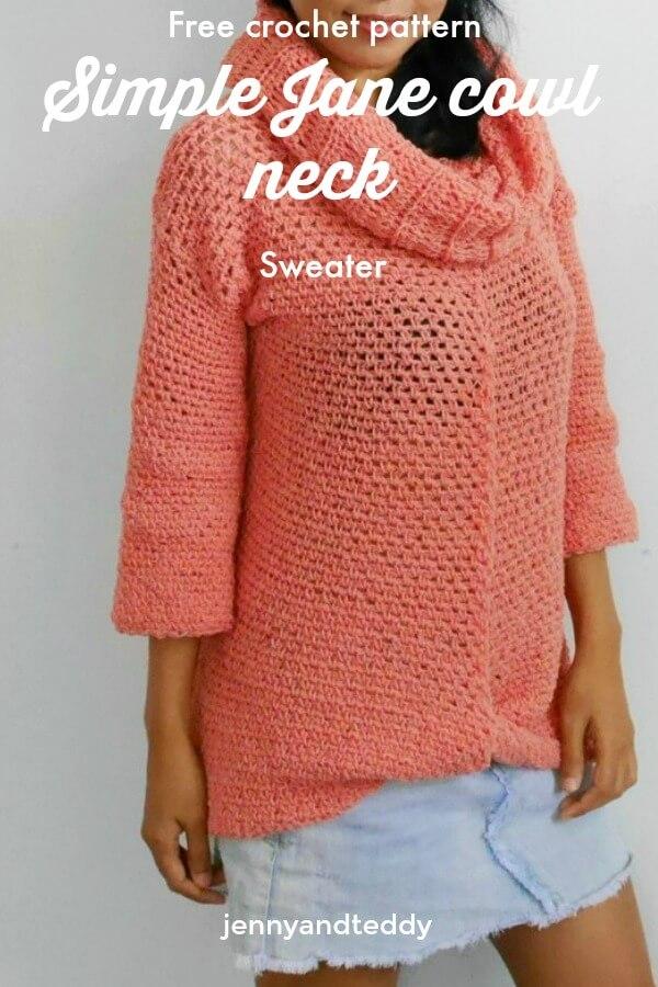 dd434cb97fd simple jane cowl neck crochet sweater free pattern