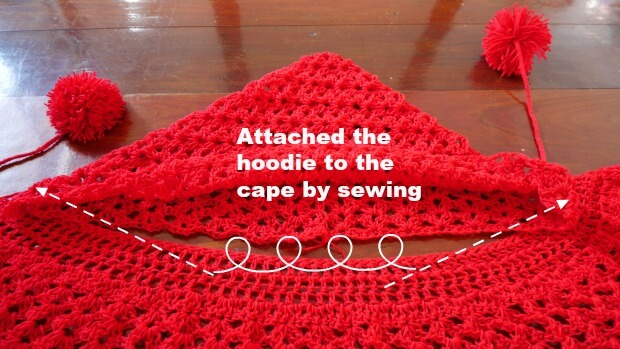 attach hooded to crochet shawl or cape