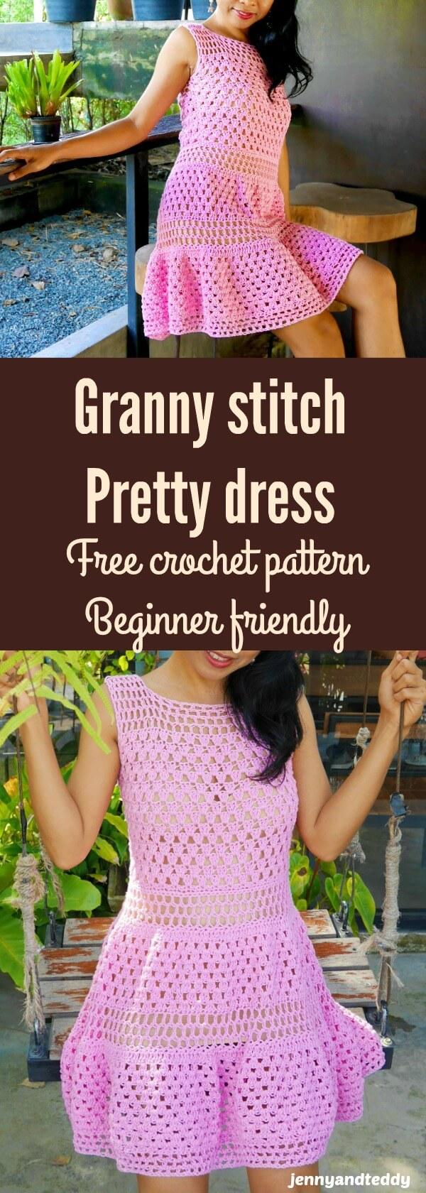 beginner crochet dress use granny crochet stitch free pattern