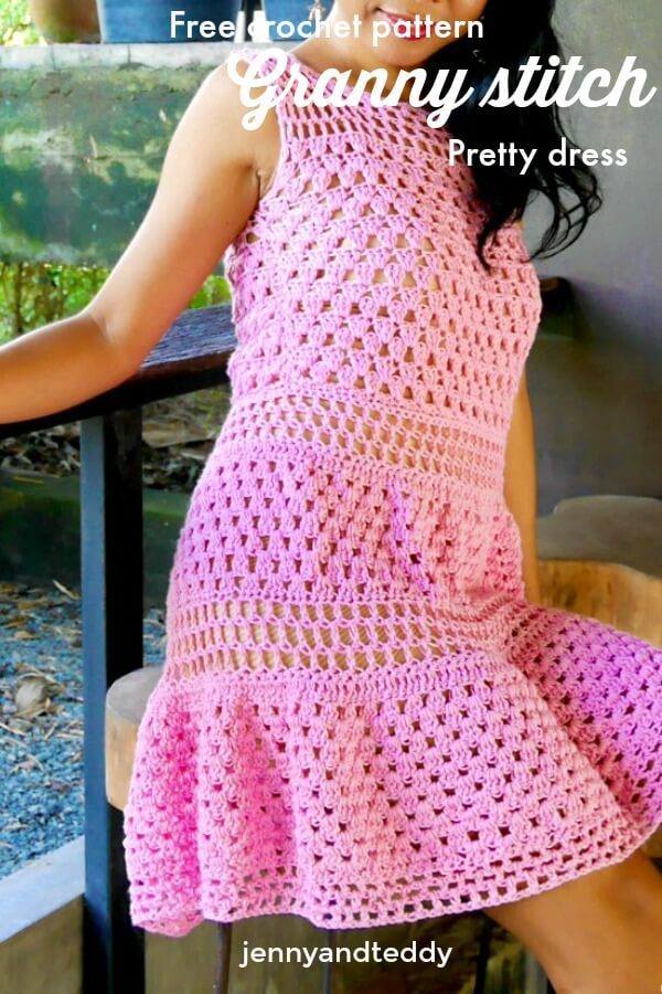crochet mini dress use granny stitch beginner friendly