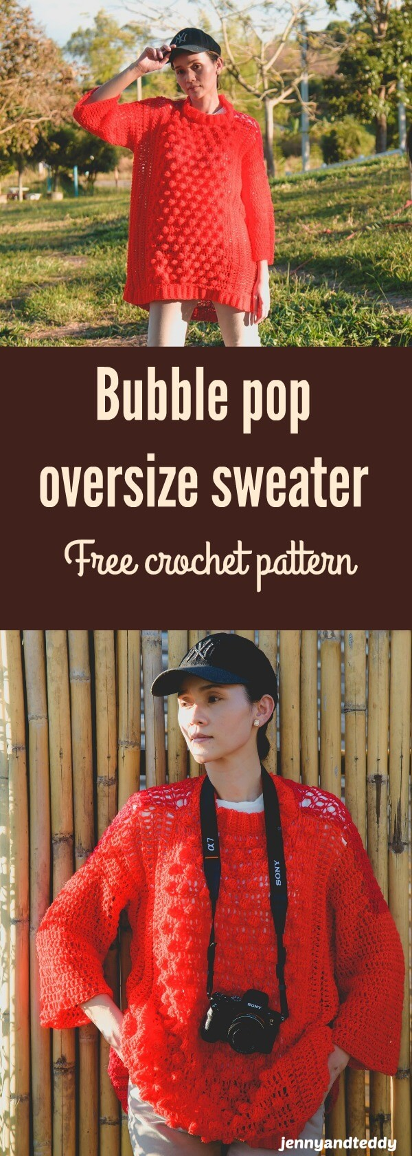 easy crochet oversized bobble sweater free pattern with video tutorial.
