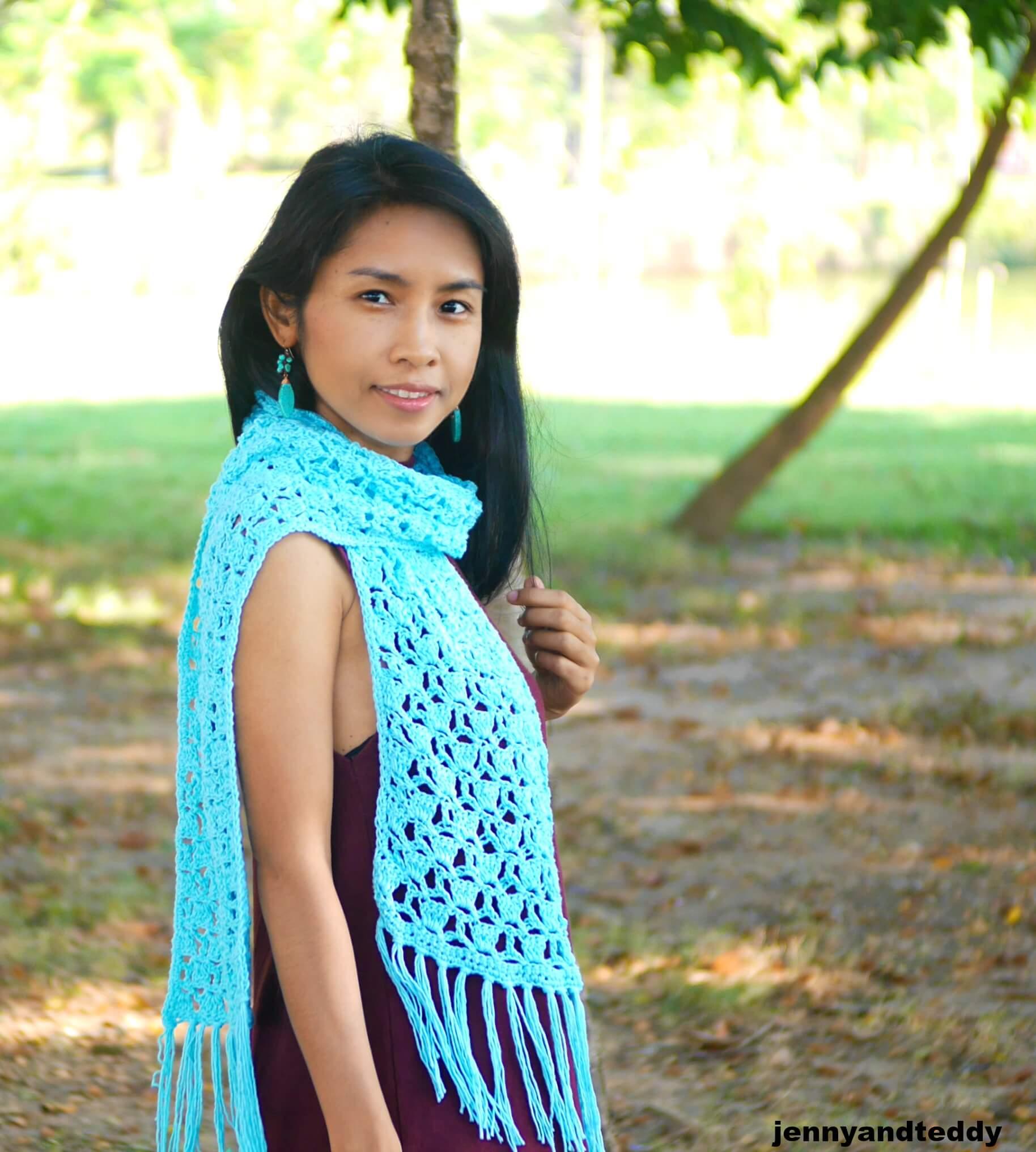 fancy crochet stitch lace easy scarf