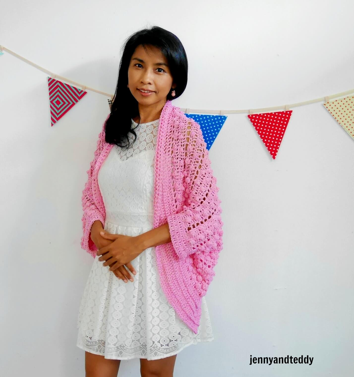 pink crochet cardigan bobble stitch