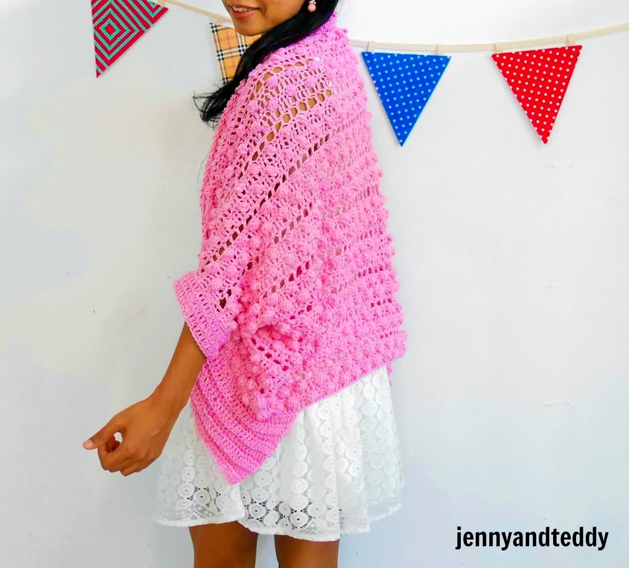 bobble crochet stitch cardigan made from cotton yarn