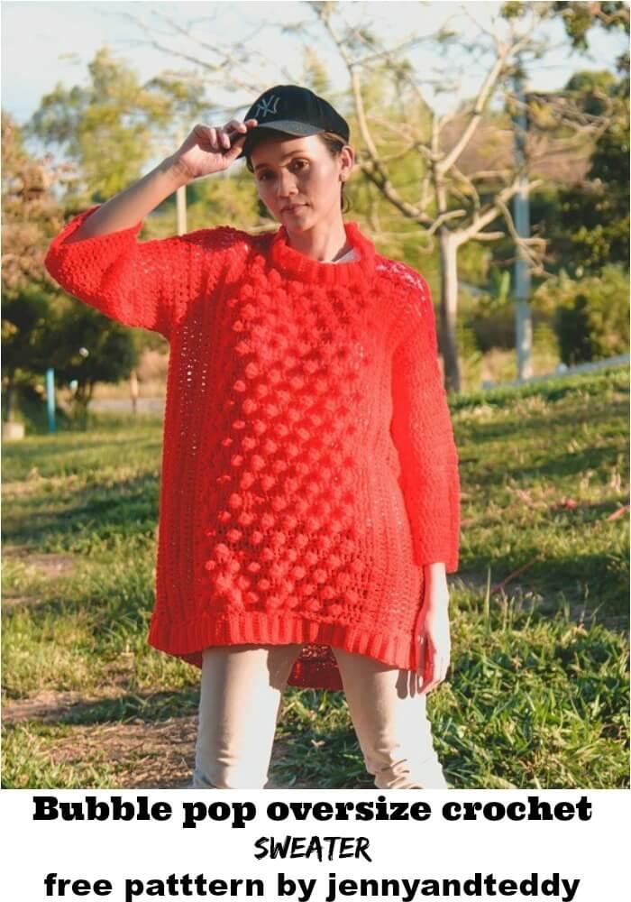 crochet oversized bobble stitch sweater free pattern with video.