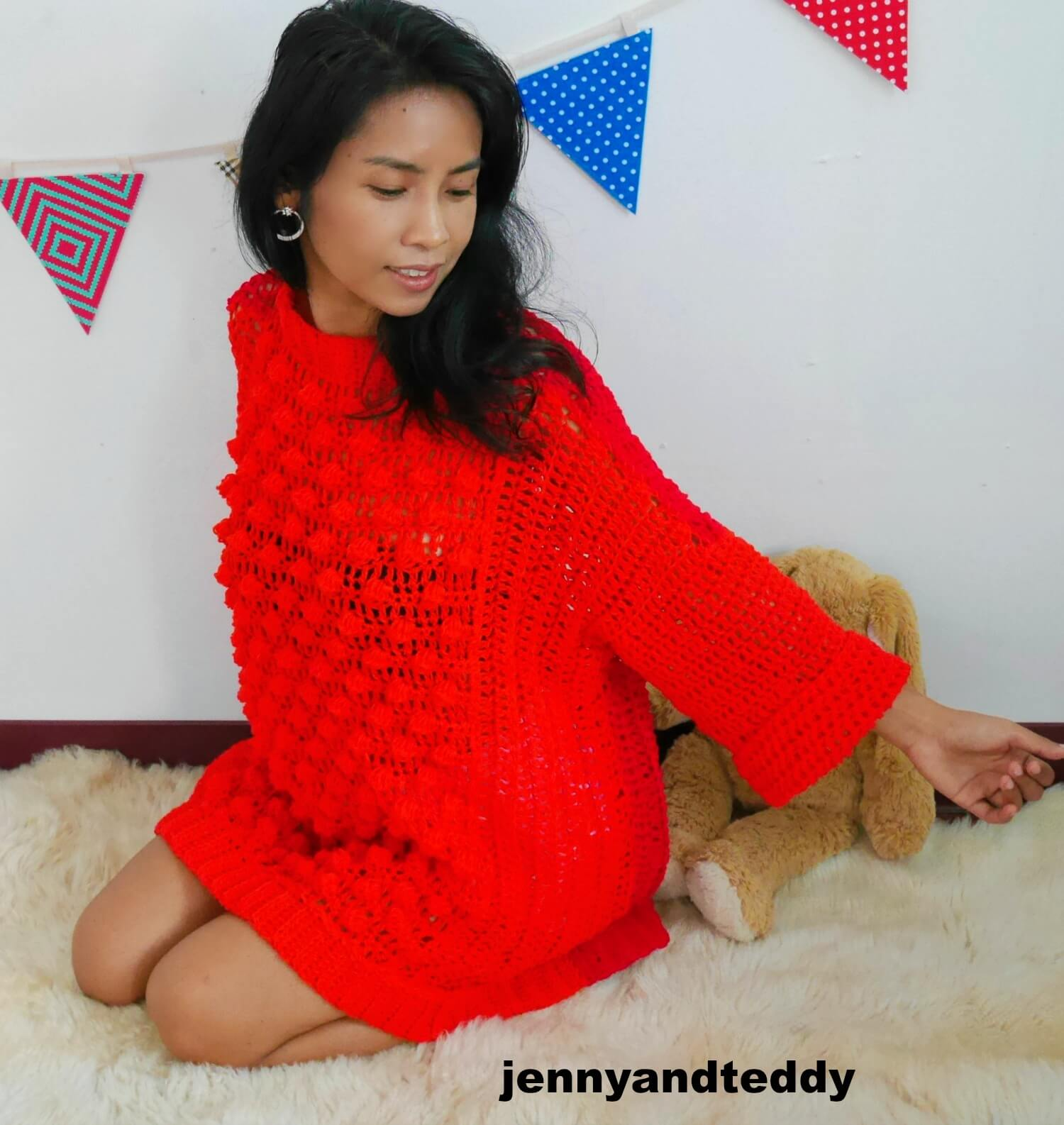bubble pop oversize crochet sweater free pattern