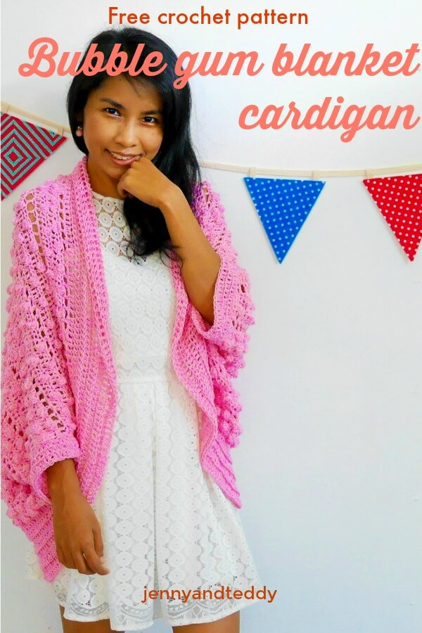 bobble stitch crochet blanket cardigan free pattern and tutorial.