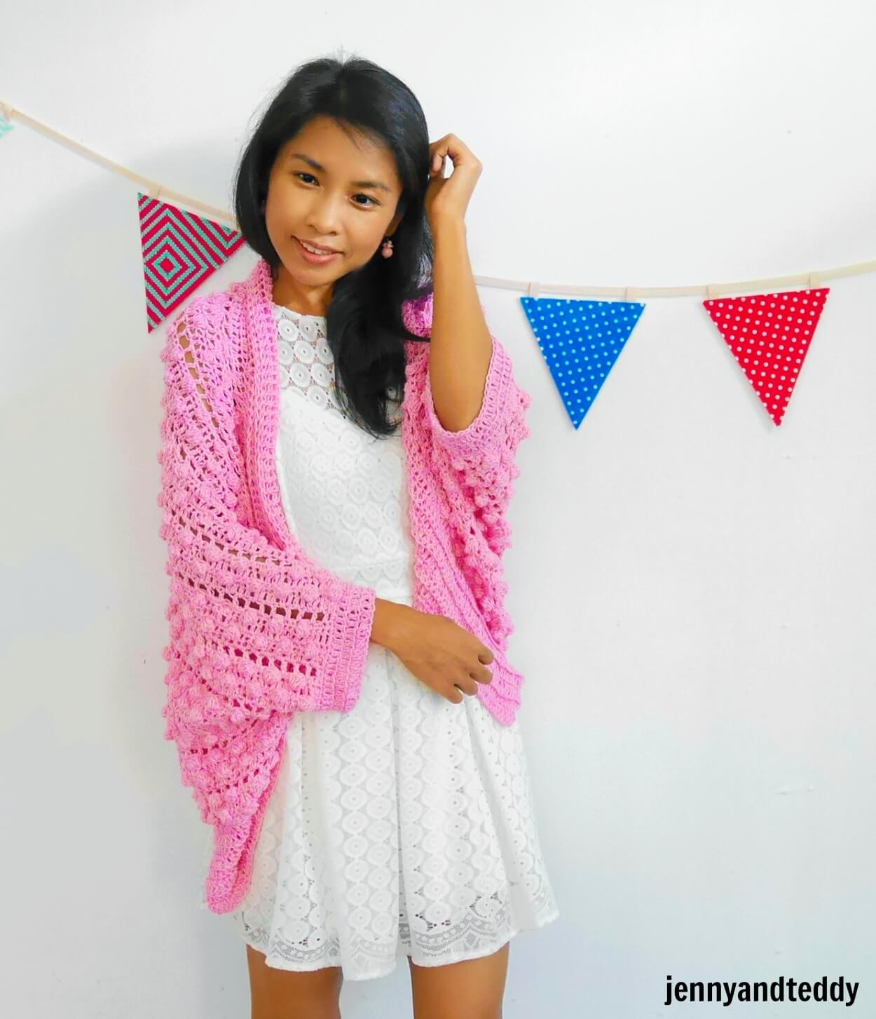 easy crochet blanket cardigan made from one rectangle useing bobble crochet stitch