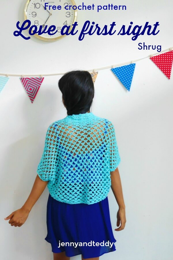 Love At First Sight Crochet Shrug Free Pattern