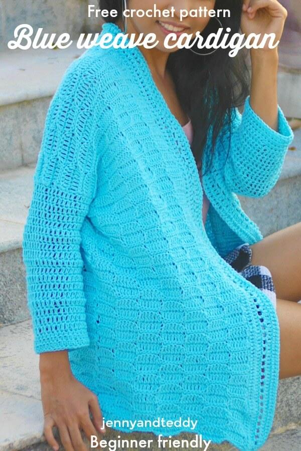 crochet leaf stitch cardigan free crochet pattern with video tutorial