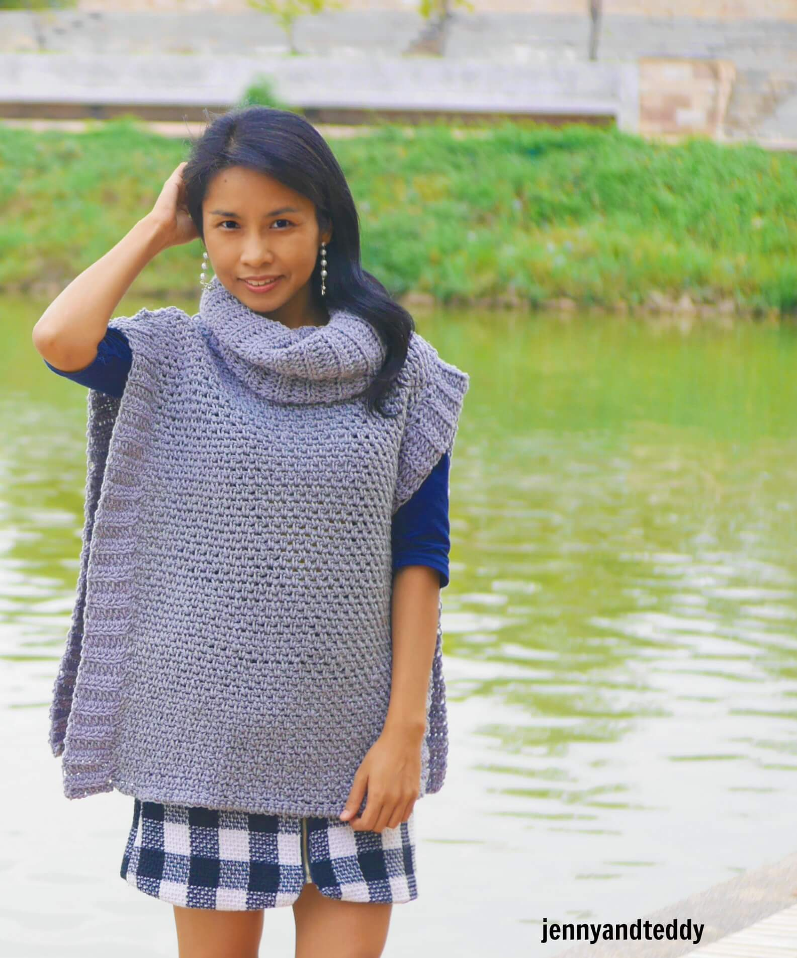 crochet moss/linen stitch easy beginner poncho free pattern