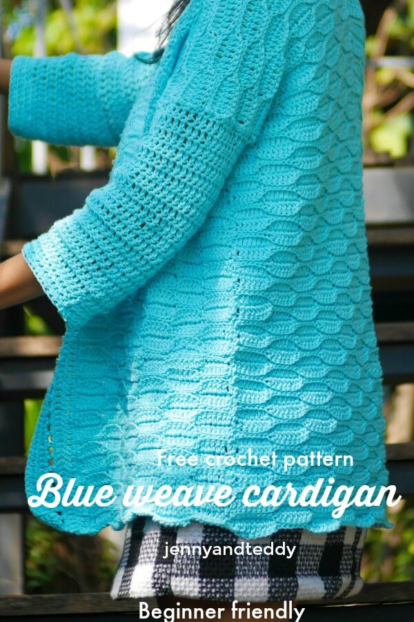 crochet mini leaf stitch cardigan free pattern and video