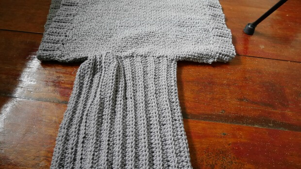 Add the cowl neck to crochet rectangle