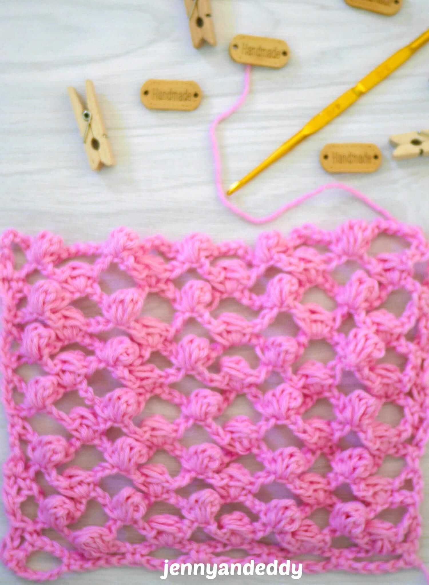 how to crochet mini puff mesh stitch tutorial