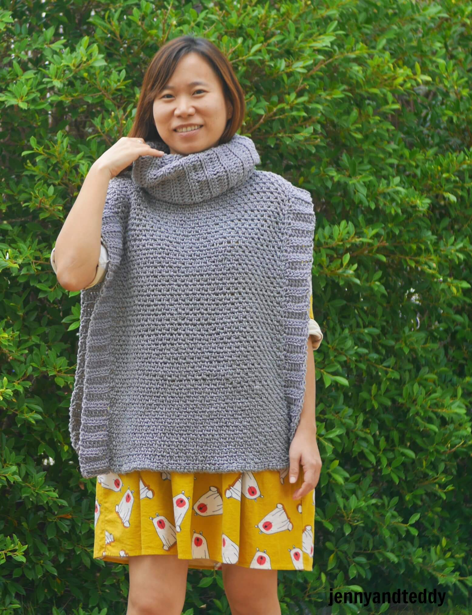 knit like crochet poncho free pattern