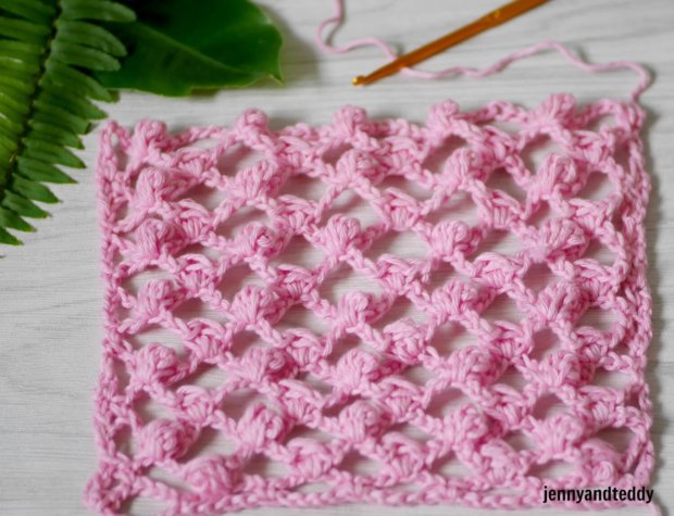 how to crochet easy mini puff stitch and mesh