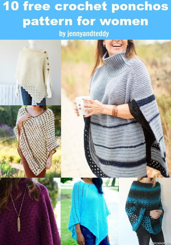 10 free crochet ponchs for women photo
