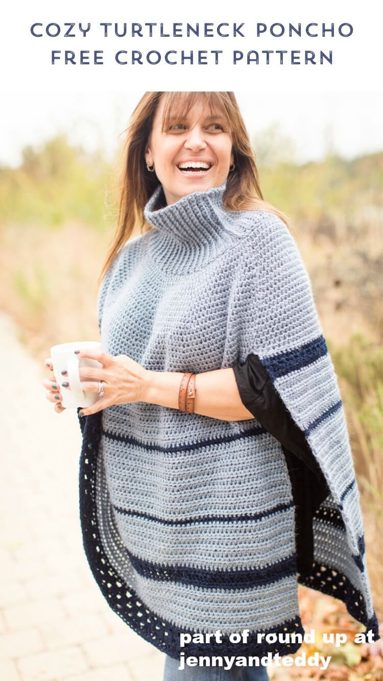 turtle neck crochet poncho free pattern photo
