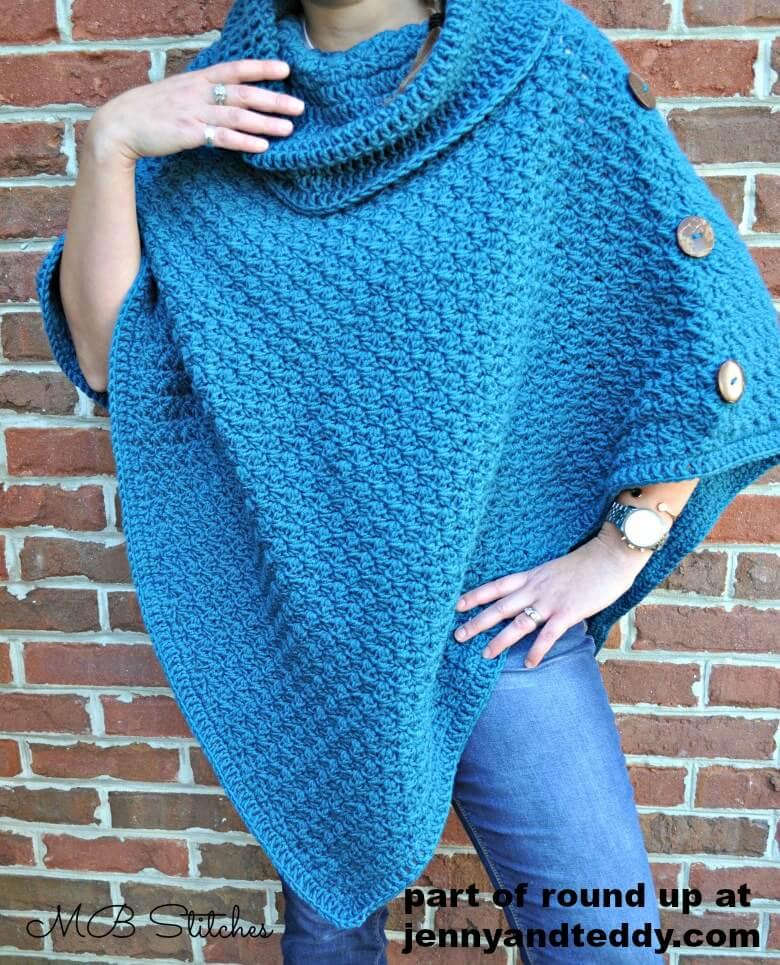 teal easy crochet poncho pattern