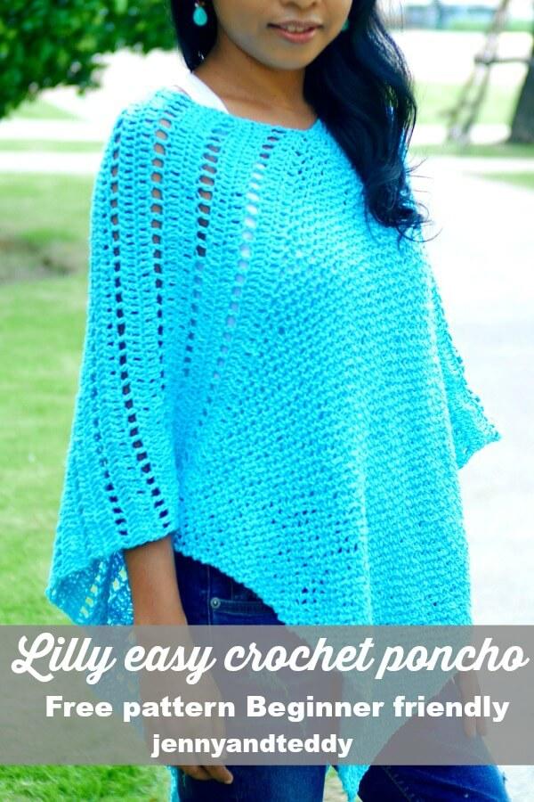 Lilly Easy Crochet Poncho Free Pattern