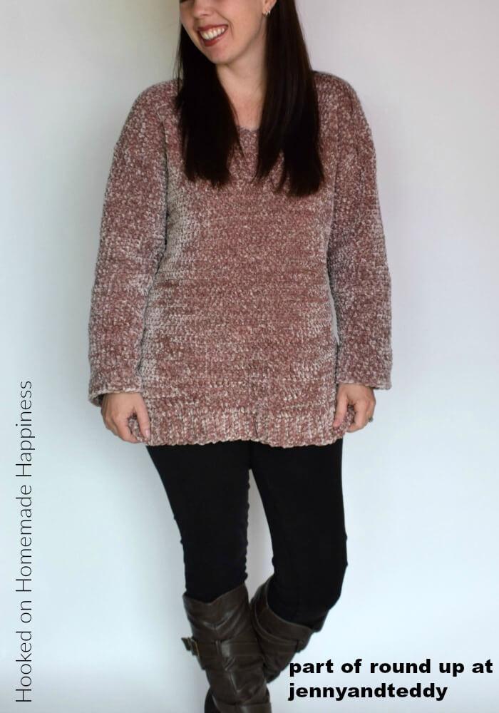velvet pullover sweater crochet pattern image