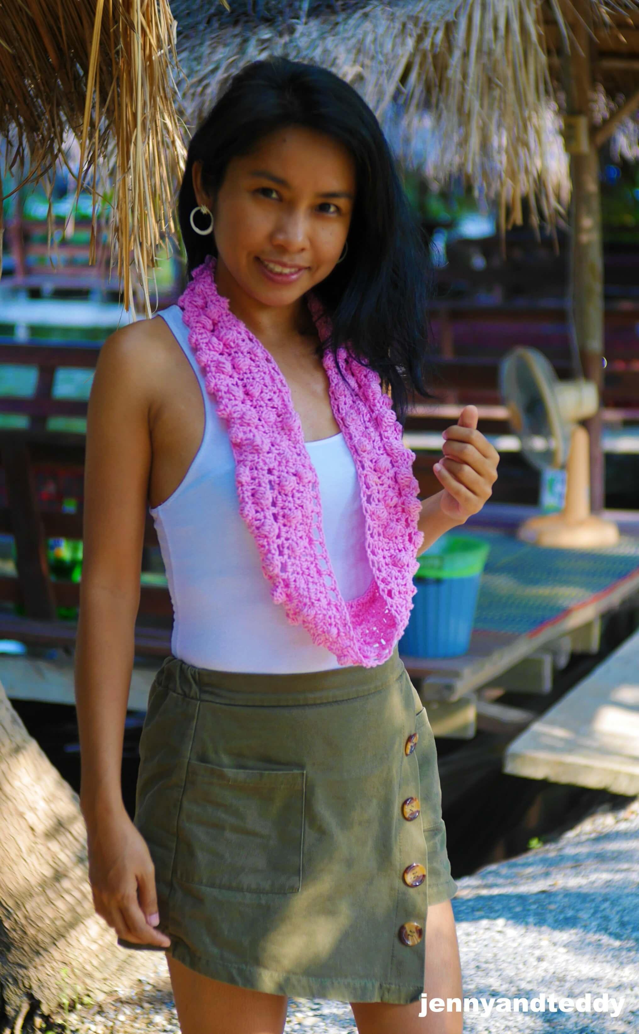 bobble stitch crochet infinity scarf image
