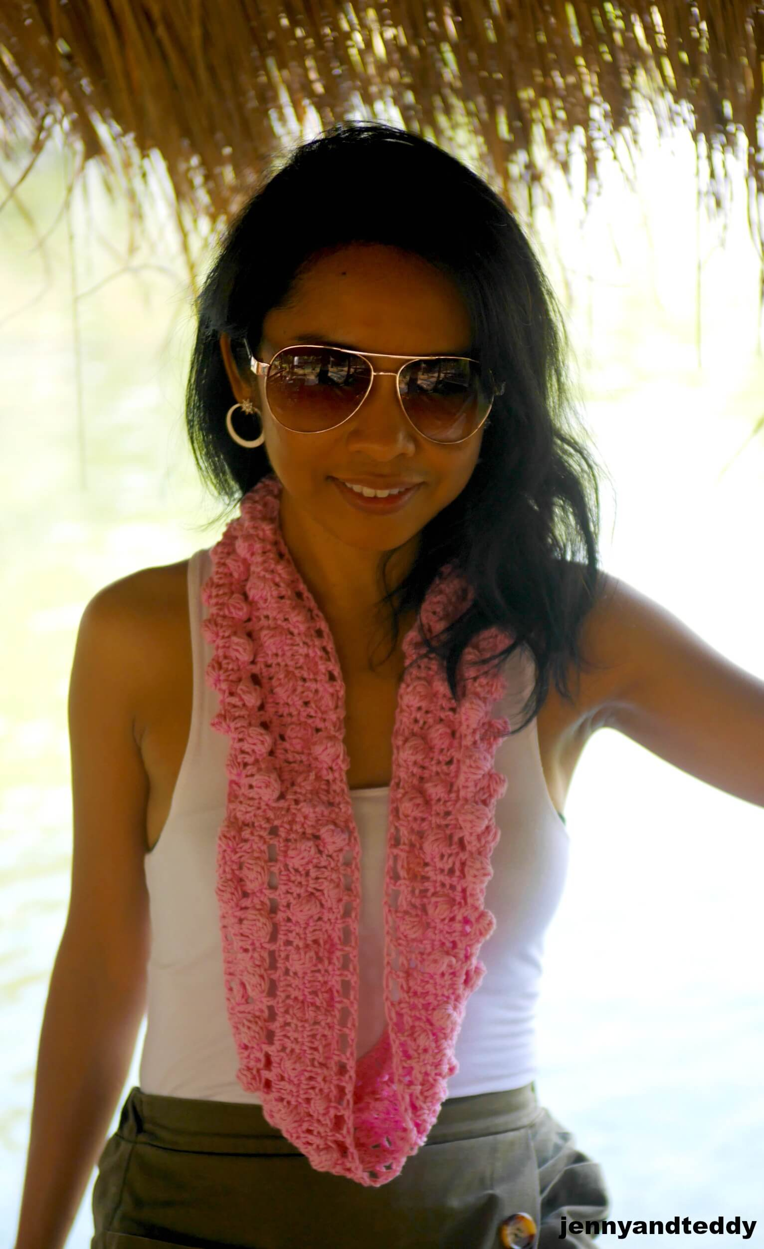 bobble stitch crochet scarf photo
