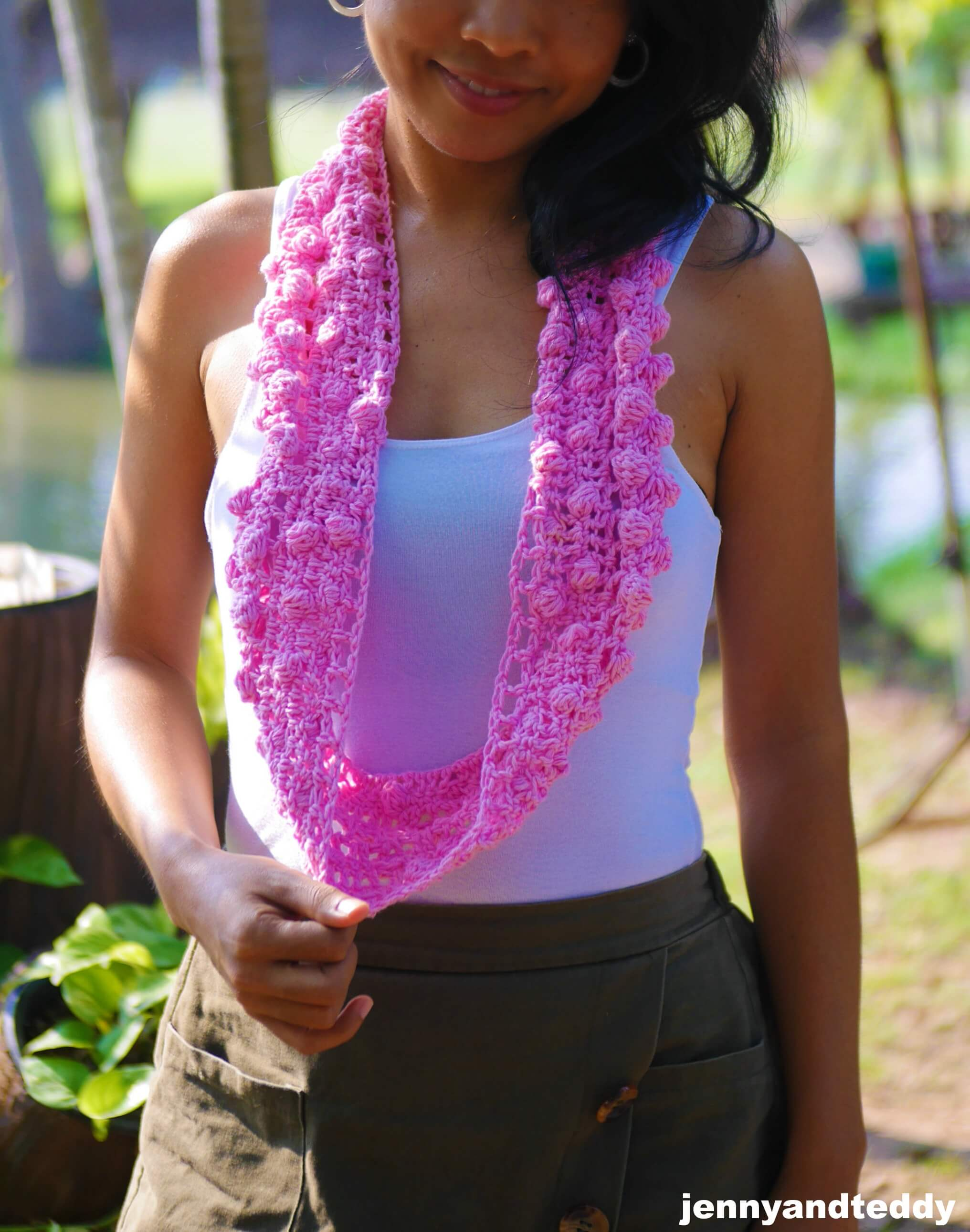 easy crochet bobble stitch skinny scaf picture