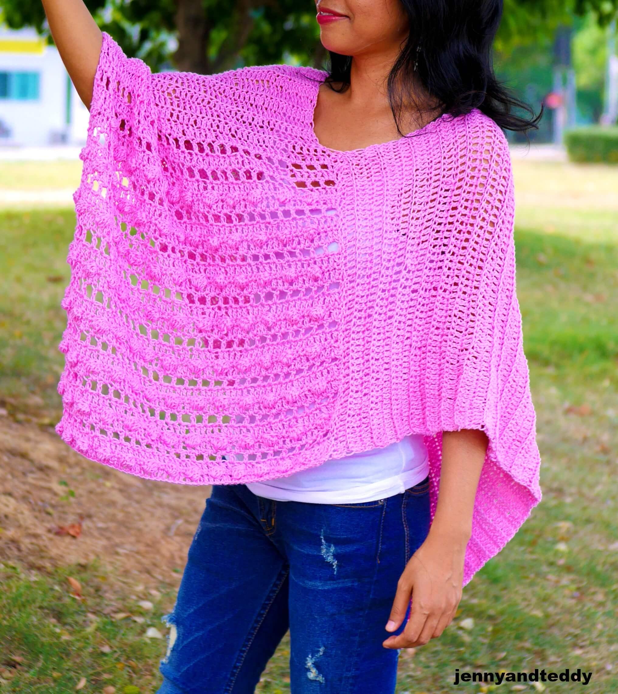 spring time crochet easy poncho photo