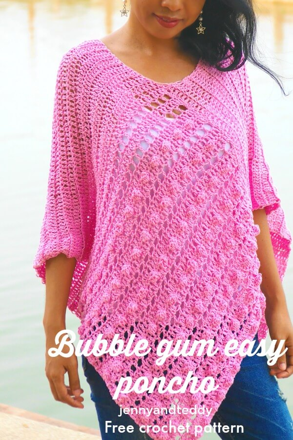 bubble gum easy crochet ponch image