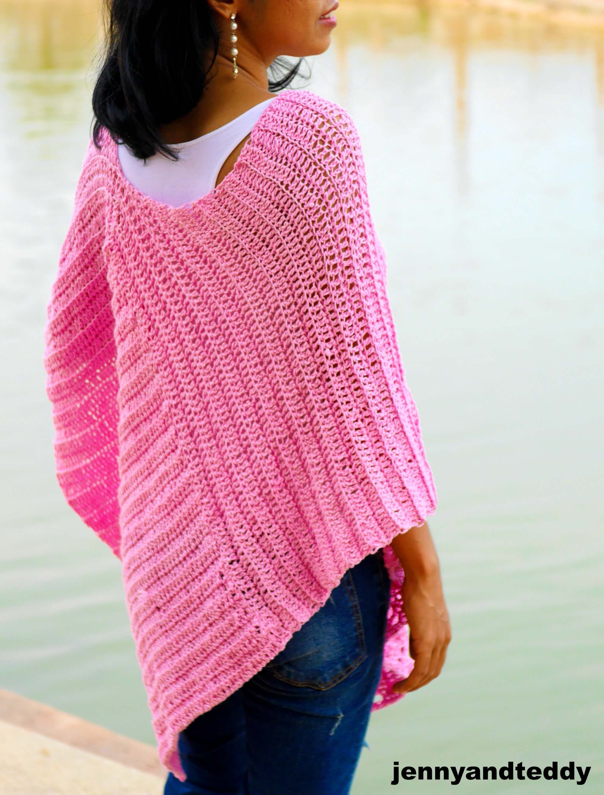 easy summer light weight crochet poncho image