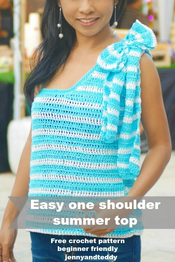 easy crochet summer top one shoulder image