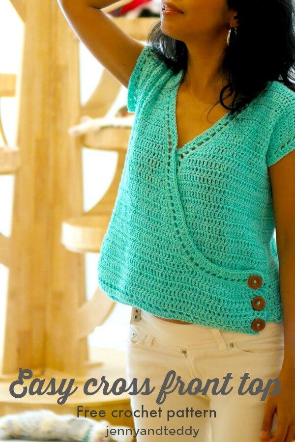 easy crochet cross front top for summer crochet photo