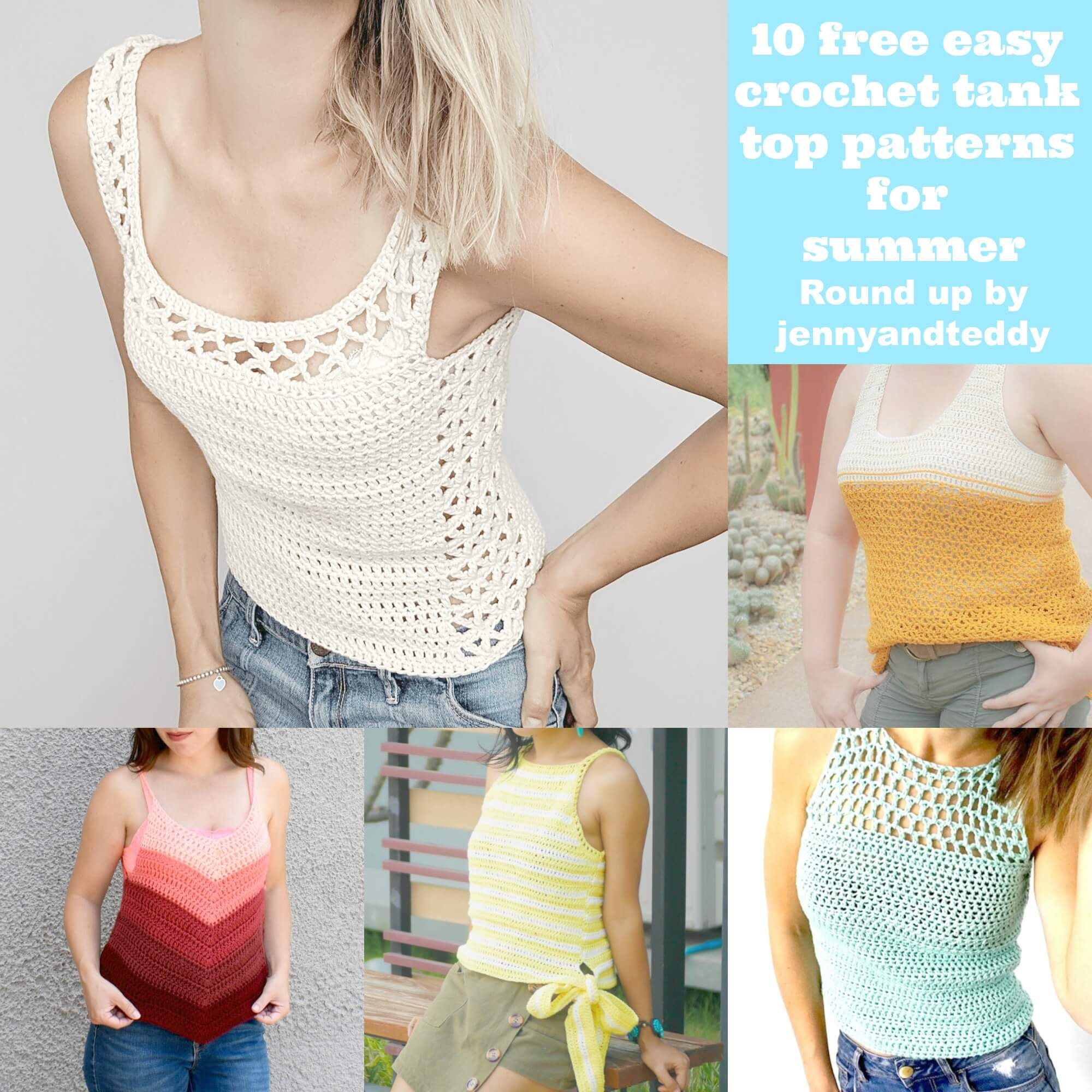 10 free easy crochet tank top for summer pattern for beginner round up