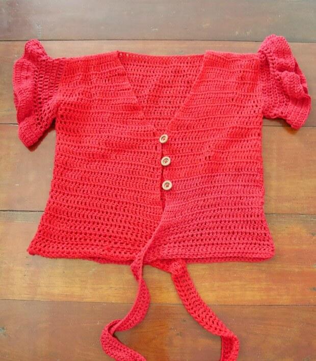 crochet short sleeve add button