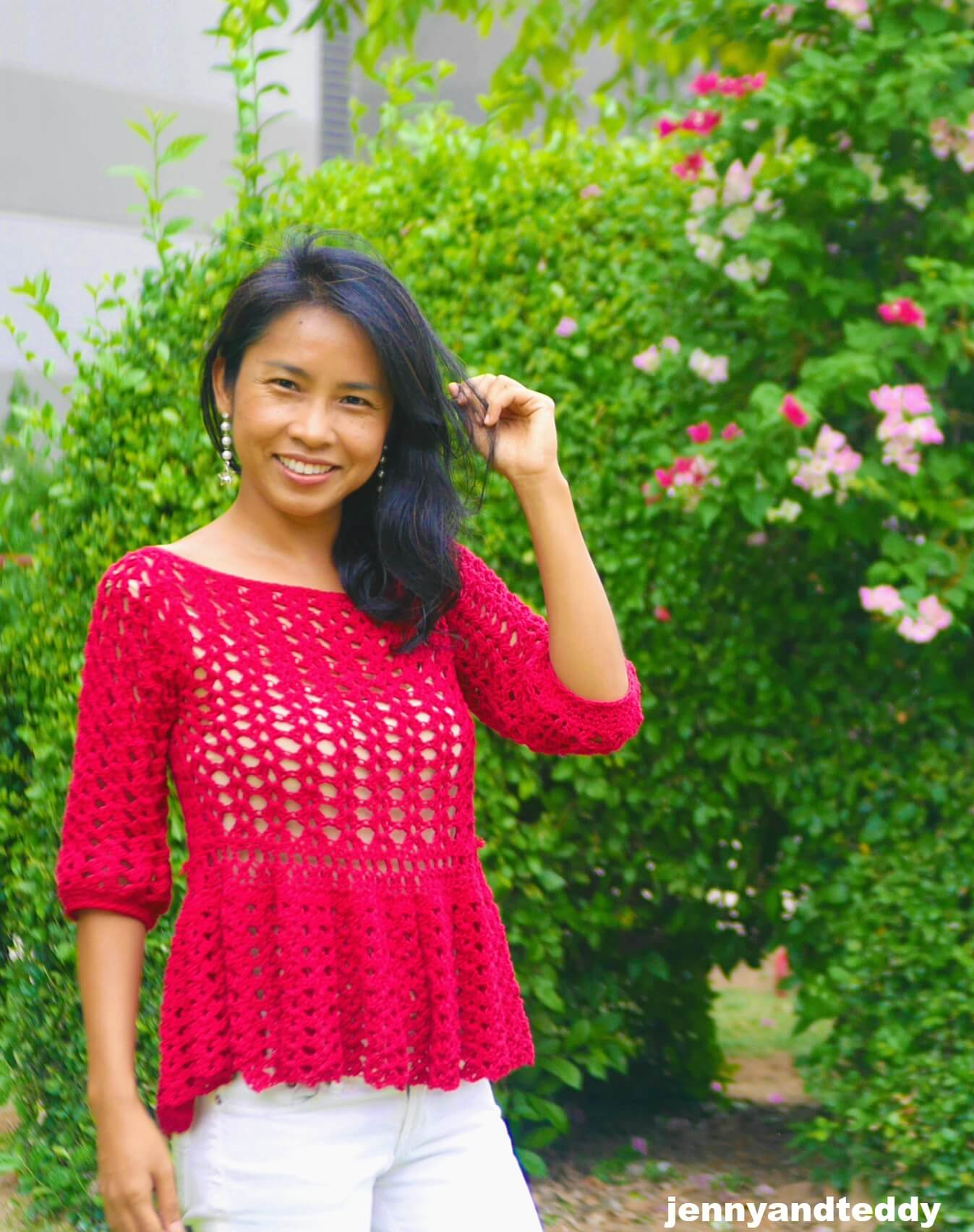 easy breezy crochet ruffle top image