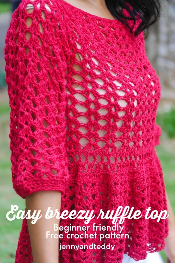 easy breezy summer lace crochet ruffle top free pattern