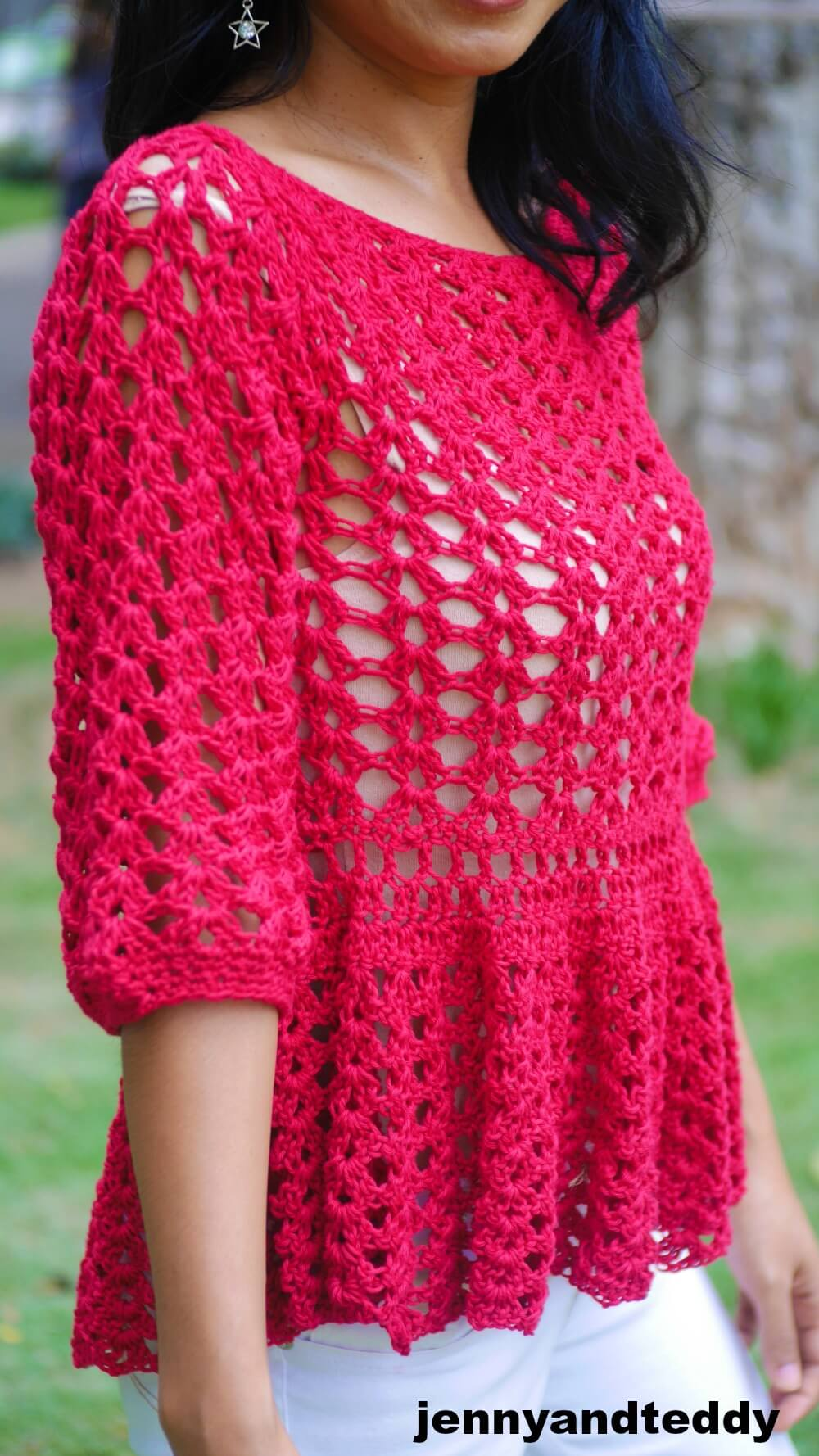 easy lace long sleep crochet summer top free pattern photo