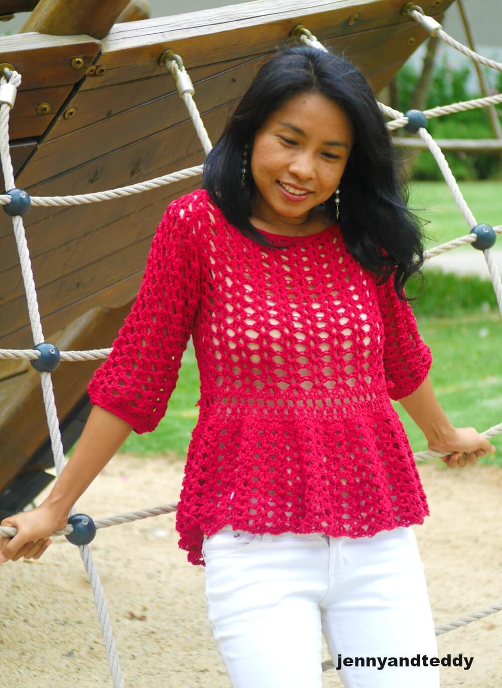 easy long sleeve summer crochet top photo