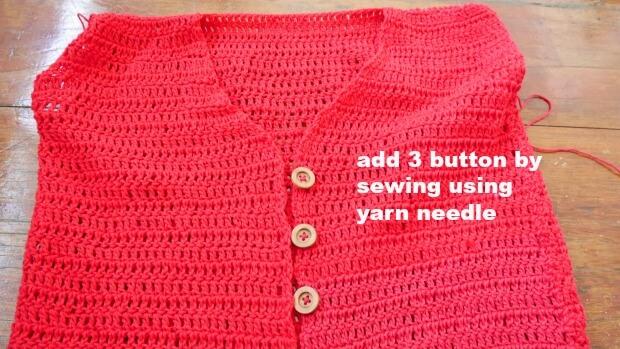 crochet top attach button