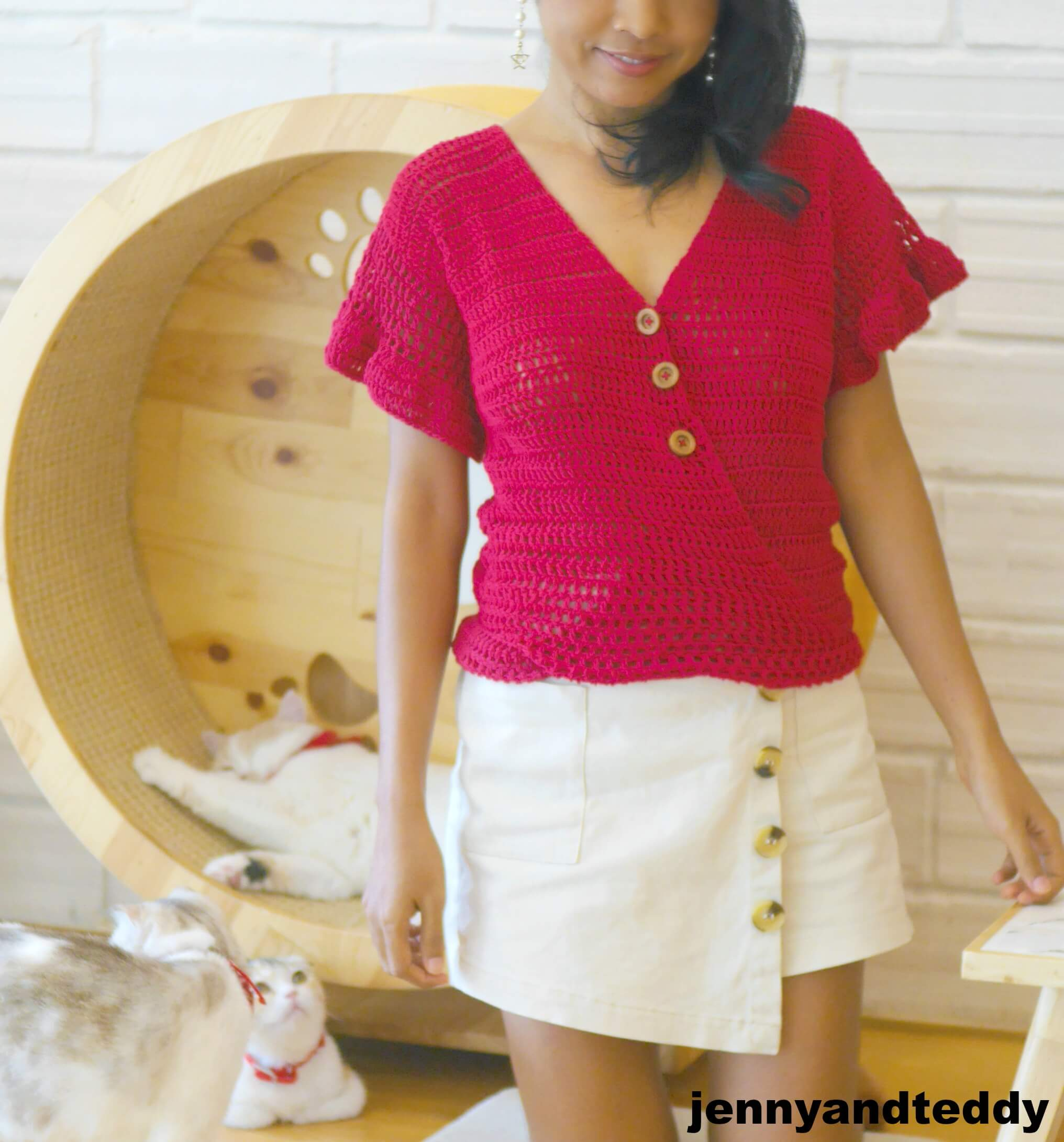 crochet simple cropped bell sleeve ruffle top for summer step by step video
