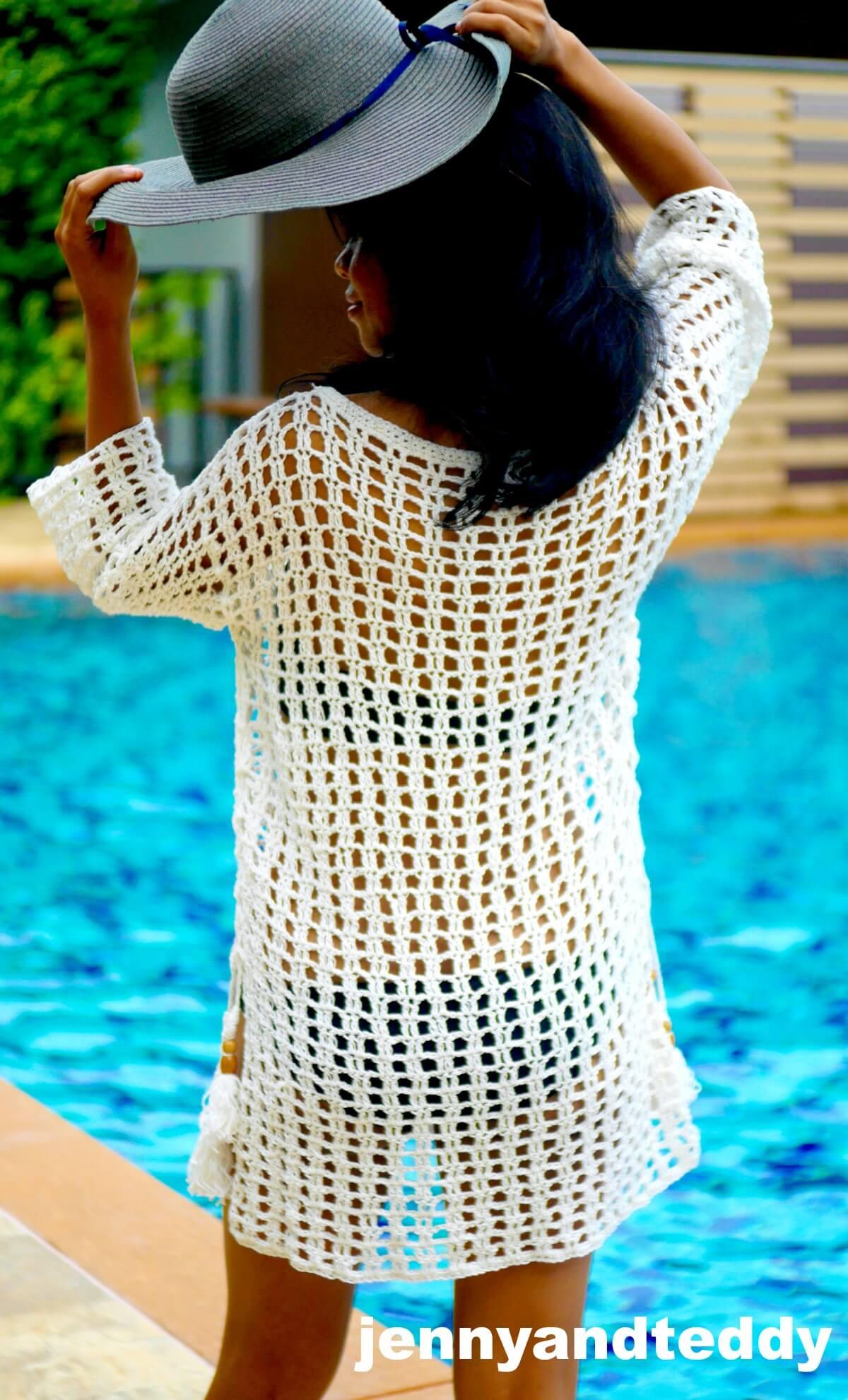 easy crochet beach cover up photo