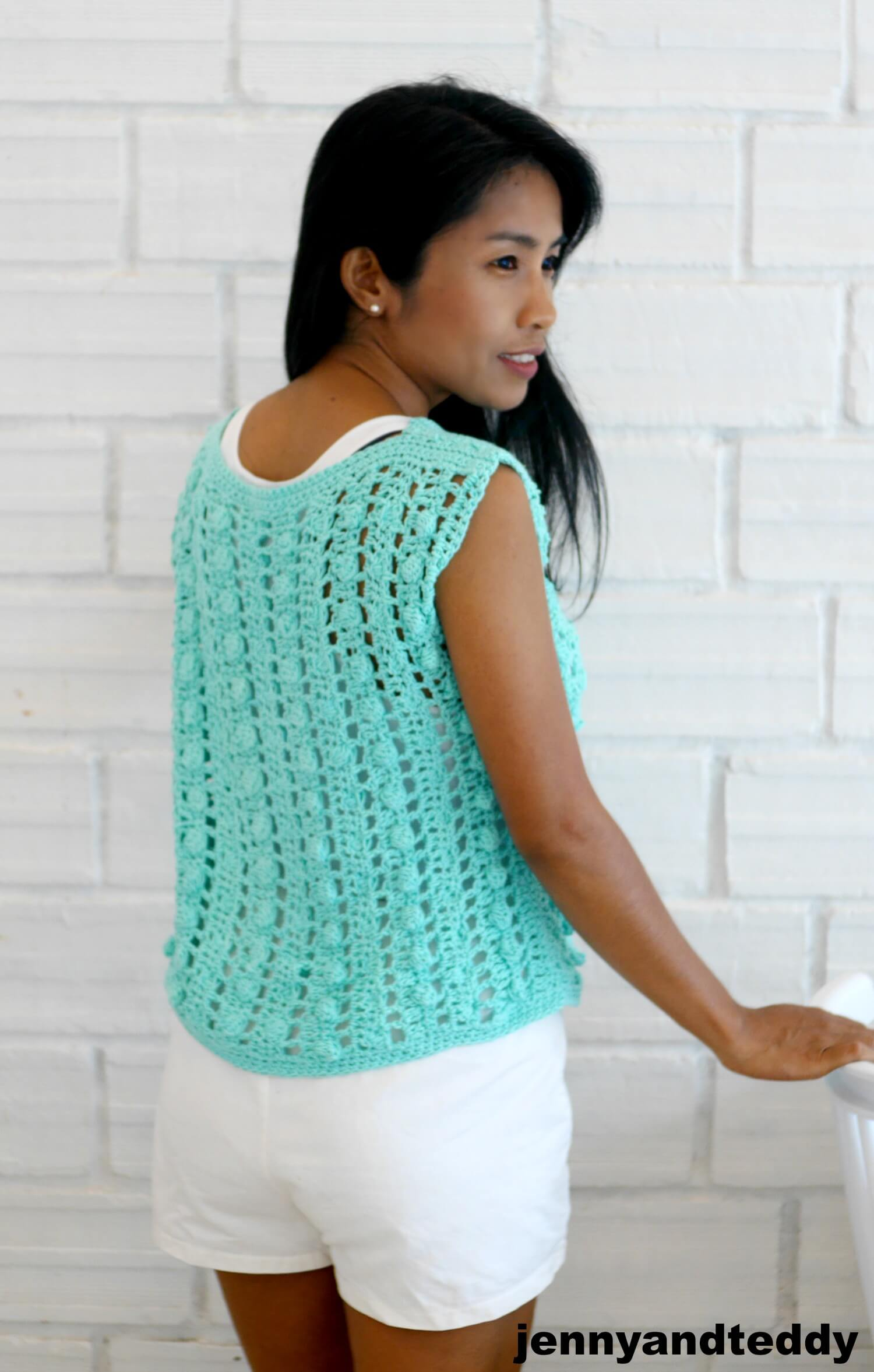 bobble crochet stitch summer top image