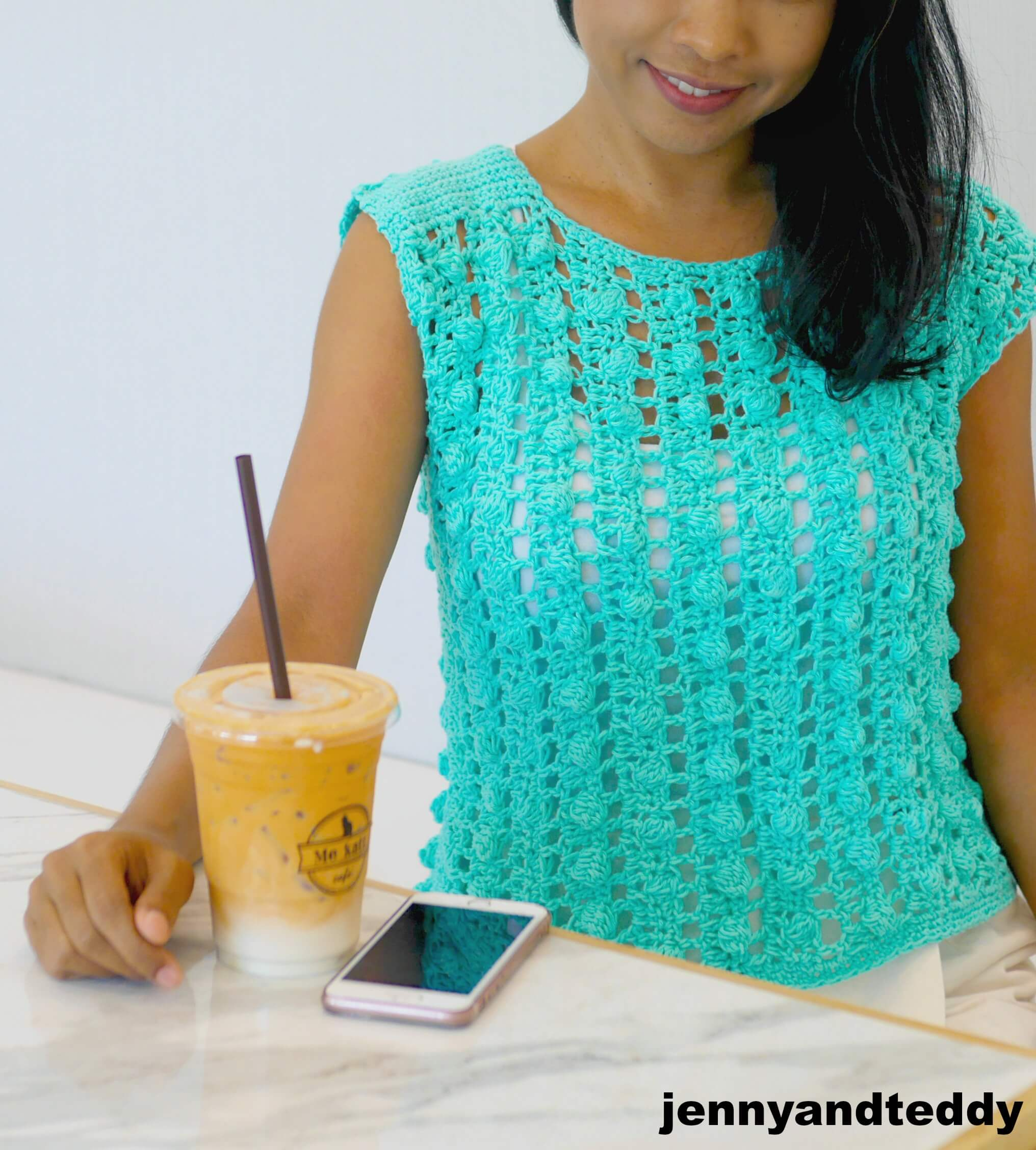 bobble stitch crochet top free pattern | jennyandteddy