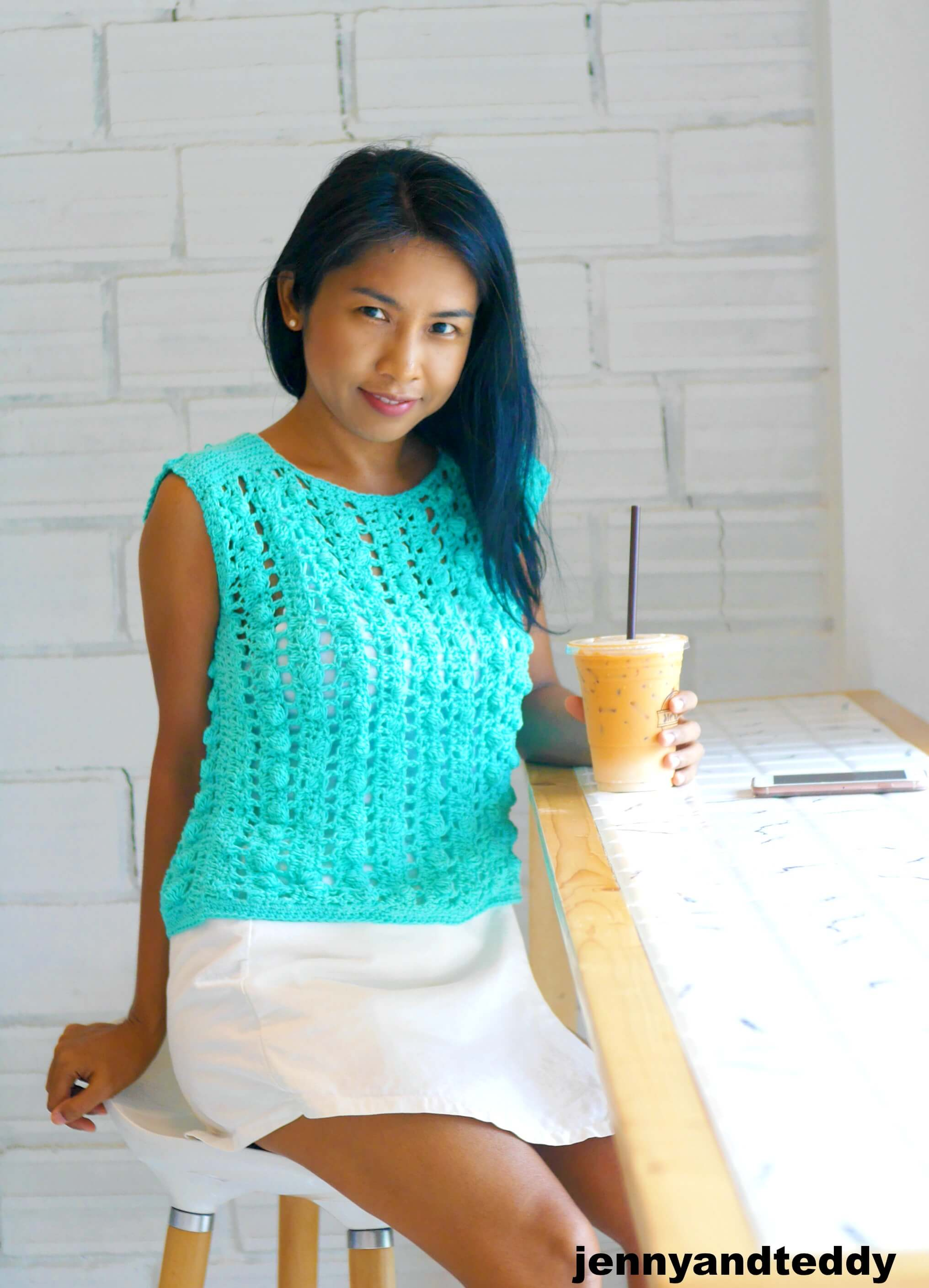 bobble stitch crochet top photo